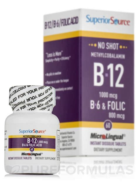 no methylcobalamin b12 b6 folic acid 800 mcg 60 dissolvable tablets