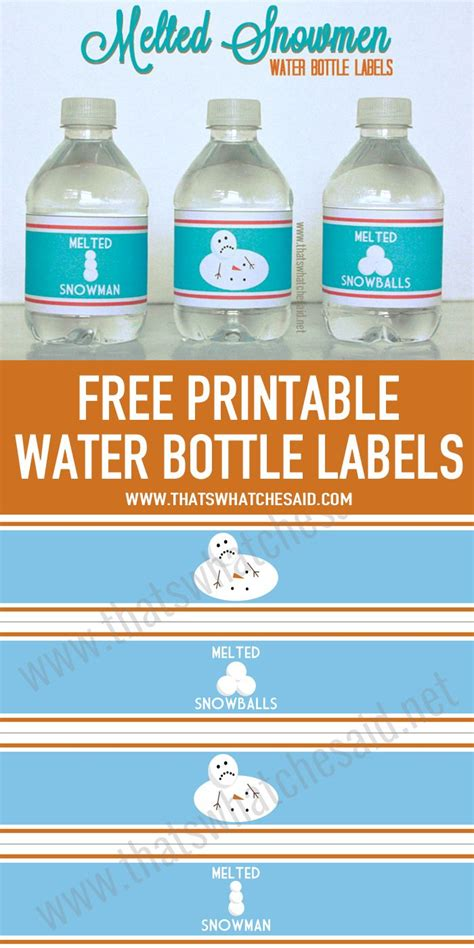 melted snowman water bottle labels printable water