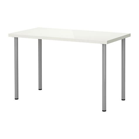 white desk with silver legs linnmon adils table high gloss white silver color ikea