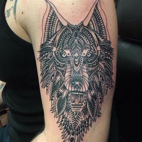 mandala wolf tattoos ideas