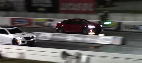 Tesla Model S P100d Crew Drag Races 2017 Cadillac Cts-v