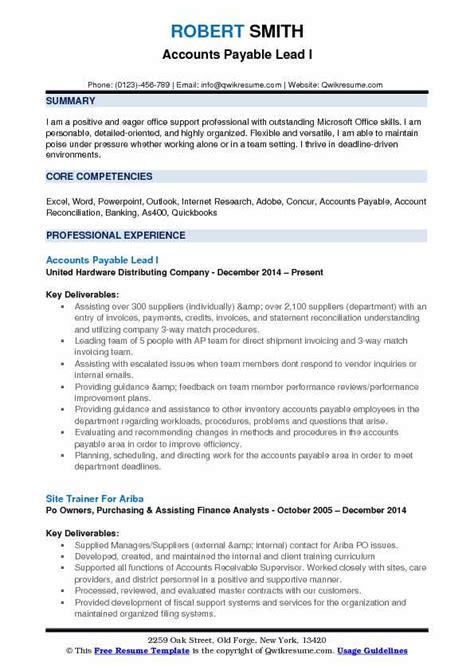 accounts payable lead resume sles qwikresume