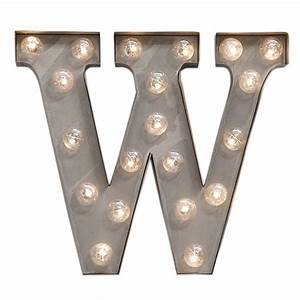 letter w carnival light in industrial steel finish 33cm With large letters with light bulbs