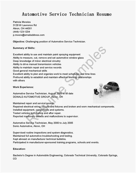 Auto Resume Writer by Resume Sles Automotive Service Technician Resume Sle