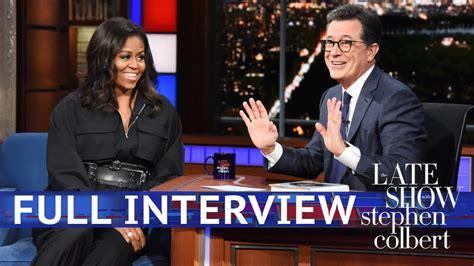 Michelle Obama Talks To Stephen Colbert