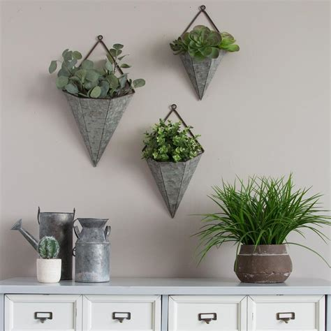 metal wall planters stratton home decor 3 triangular galvanized metal