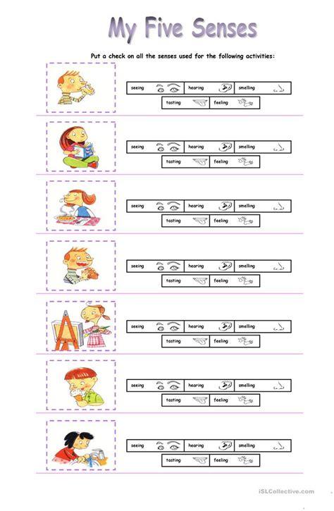 my five senses worksheet free esl printable worksheets