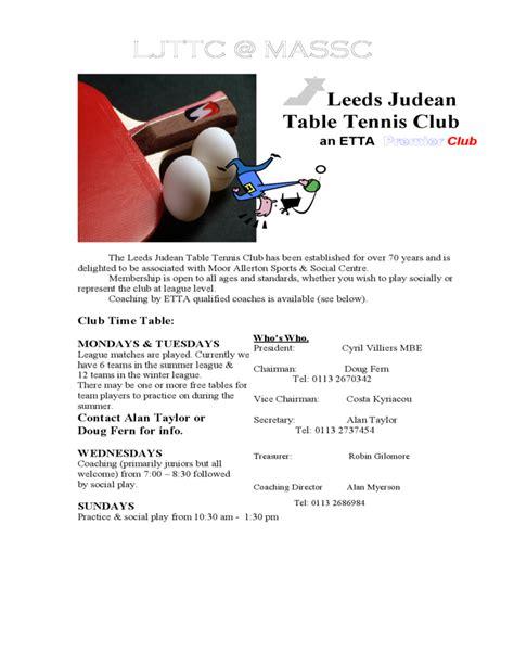 sample table tennis club flyer template