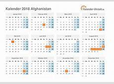 Feiertage 2018 Afghanistan Kalender & Übersicht