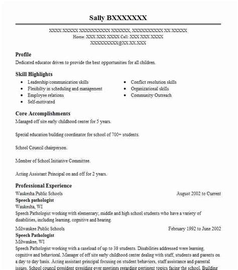 Slp Resume Exles by Speech Pathologist Objectives Resume Objective Livecareer