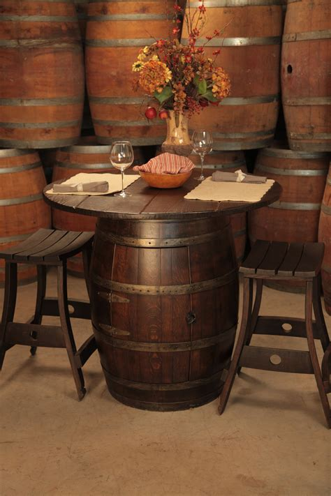 whiskey barrel pub table wine barrel pub table and stools perfect for in the