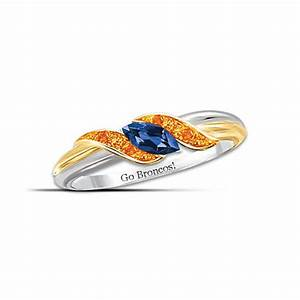 quotpride of denverquot blue and orange sapphire embrace ring With denver broncos wedding rings