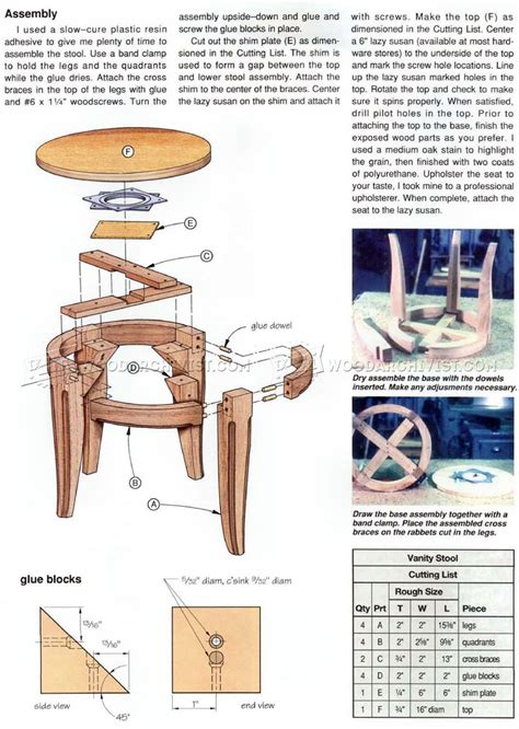 vanity stool plans woodarchivist