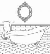 Coloring Bathtub Clipart Bathroom Pages Colouring Bird Stamps Digital Printable Bathrooms Drawing Paper Houses Clip Templates Doll Dolls Birdscards Webstockreview sketch template