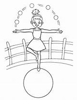 Acrobat Balancing Coloring Ball Pages sketch template