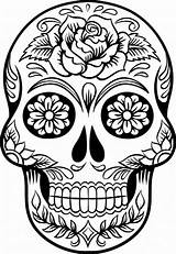 Skull Coloring Sugar Pages Scary Printable sketch template