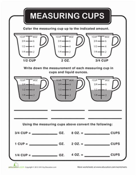 liquid measurement worksheet education