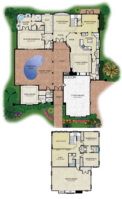 courtyard house pool single story mediterranean plans kerala  shaped double mexican houses