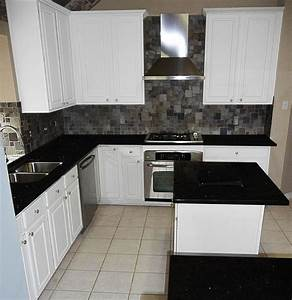 Black Galaxy with White Painted Cabinets and Slate ...
