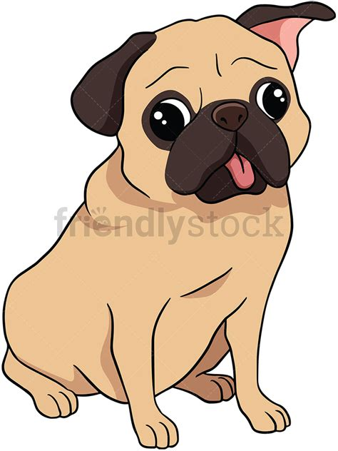 Pug Clip Sitting Pug Vector Clipart Friendlystock