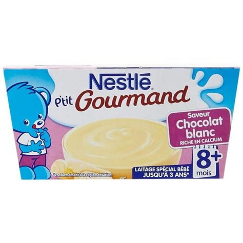 nestl 201 ptit gourmand au chocolat blanc 4 x 100 g achat vente dessert fruits b 233 b 233 pt gourm