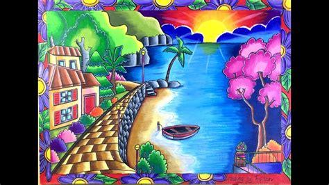 menggambar pemandangan rumah  tepi pantai