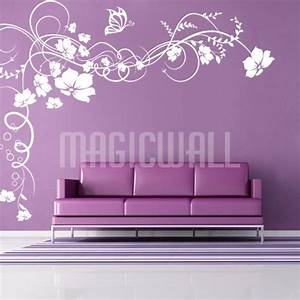 wall stickers vine flowers butterfly floral wall With stickers for walls