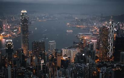 Night Lights Skyscrapers Kong Hong 4k Background