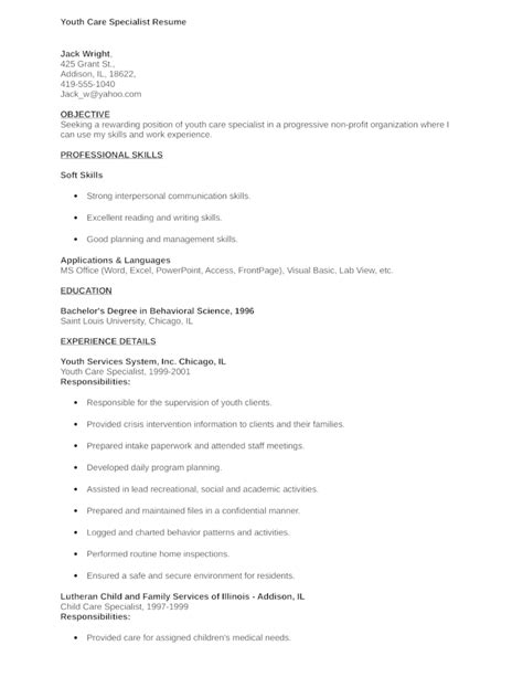 simple youth care specialist resume exle template
