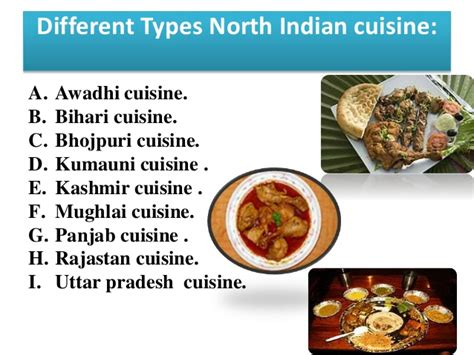 different types of cuisine presentation on indian cuisine