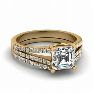 asscher cut diamond delicate split wedding ring set in 14k With asscher cut wedding ring set
