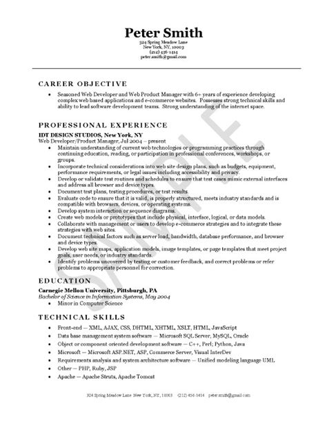 Web Developer Cv Template by Web Developer Resume Exle Career Objective Professional Experience