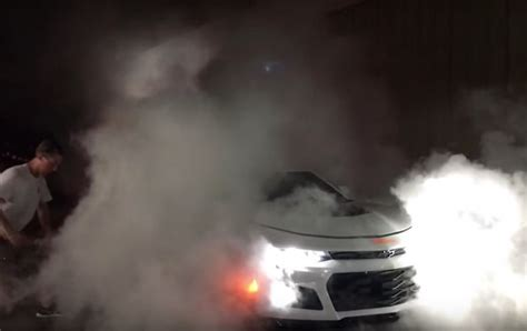 hp camaro zl burnout sets brakes  fire gm authority