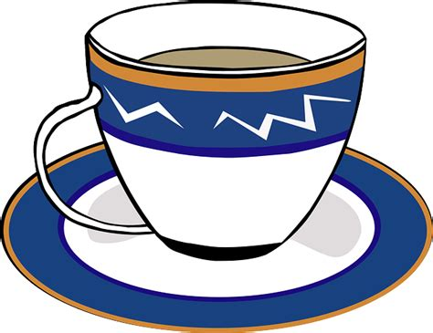 Tea, Cup, Saucer, Blue, White