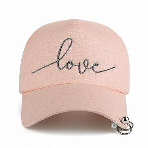 embroidered quotlovequot snapback cap with rings With iron on letters for baseball caps