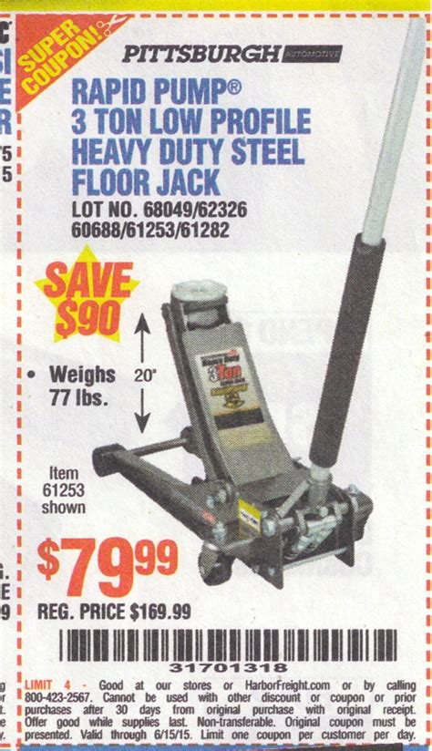 3 Ton Floor Harbor Freight by Harbor Freight Tools Coupon Database Free Coupons 25