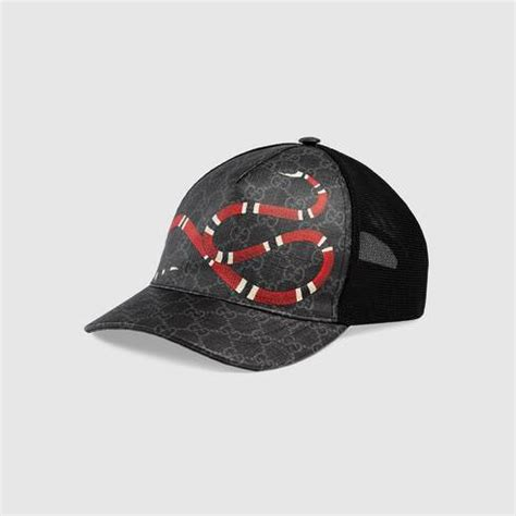 black kingsnake print gg supreme baseball hat gucci