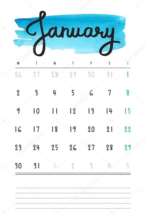 Calendar Month Template Hand by Vector Calendar 2017 Template With Blue Watercolor Stain