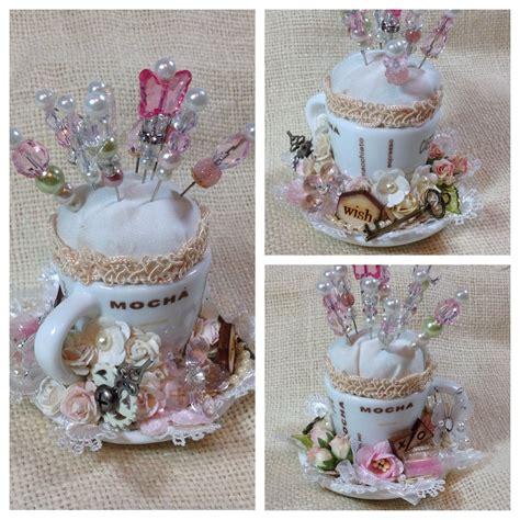 Shabby Chic Pin Cushion Using Miniature Teacupsaucer