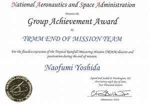 TRMM End Of Mission Team が NASA Group Achievement Awards ...