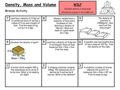 density mass and volume grade c b resources tes