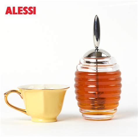 Alessi Glass Honey Dispenser Pot w/Stainless Steel Dipper