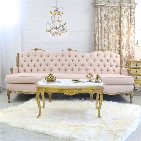 Cottage Settee by Shabby Cottage Chic Pink Linen Settee Tufted Vintage