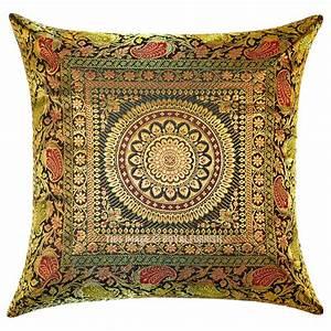 Dark, Green, Unique, Floral, Medallion, Circle, Decorative, Silk, Square, Pillow, Cover