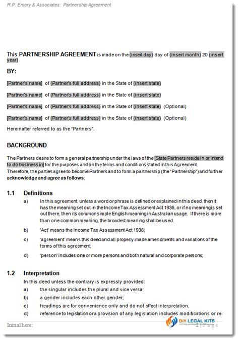 Boat Co Ownership Agreement Template by General Partnership Agreement Deed Of Partnership Contract
