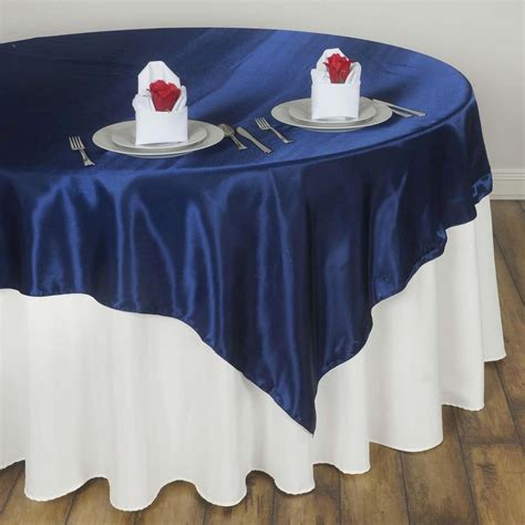 navy blue seamless satin square tablecloth overlay