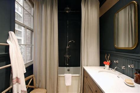 Country Bathroom With Black Beadboard  Country Bathroom