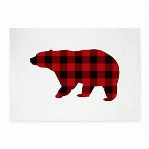 lumberjack buffalo plaid Bear 5'x7'Area Rug by ADMIN