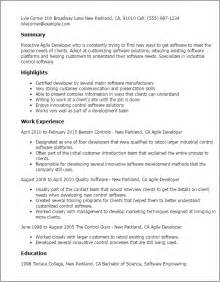 Resume Templates For Assistants Professional Agile Developer Templates To Showcase Your Talent Myperfectresume