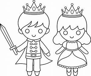 Prince and Princess Line Art - Free Clip Art